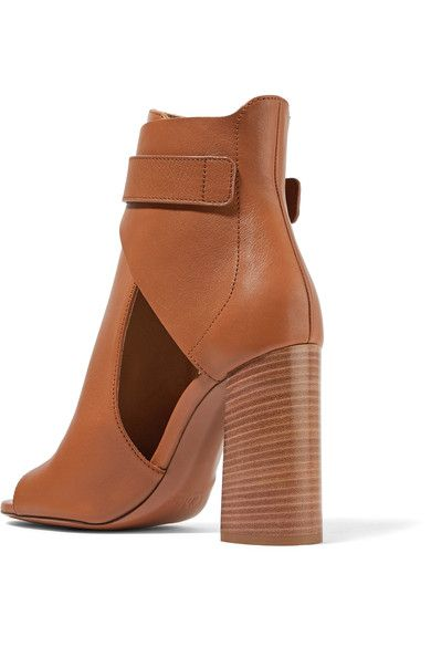 Chloé - Millie Cutout Leather Ankle Boots - Tan - IT40.5