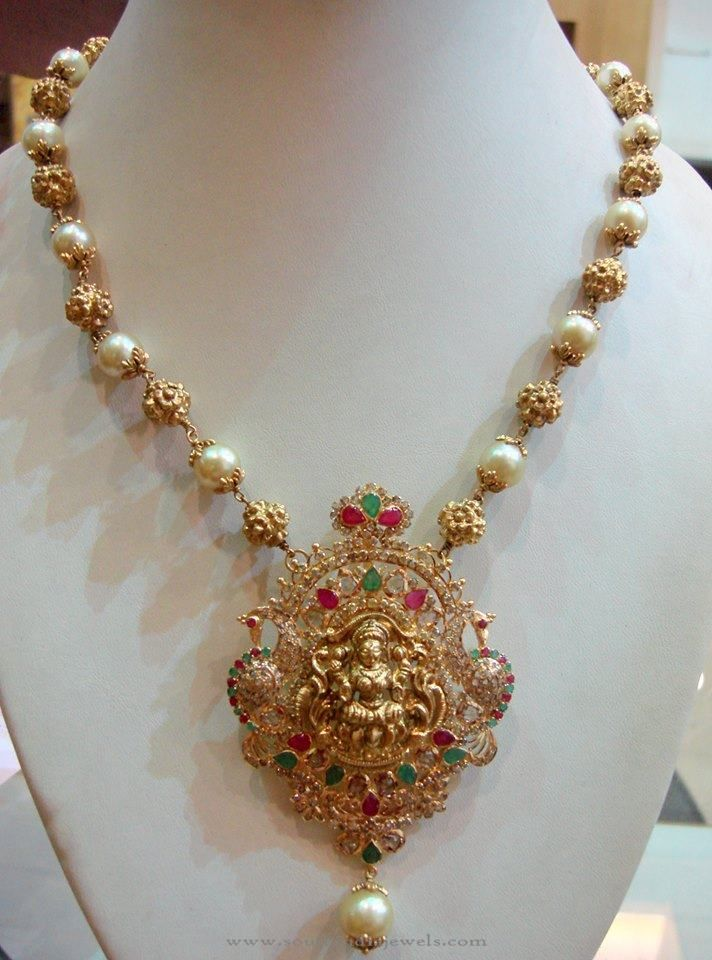 Gold Pearl Mala with Lakshmi Pendant, Gold Pearl Mala Designs, Gold Temple Pearl Jewellery Designs.