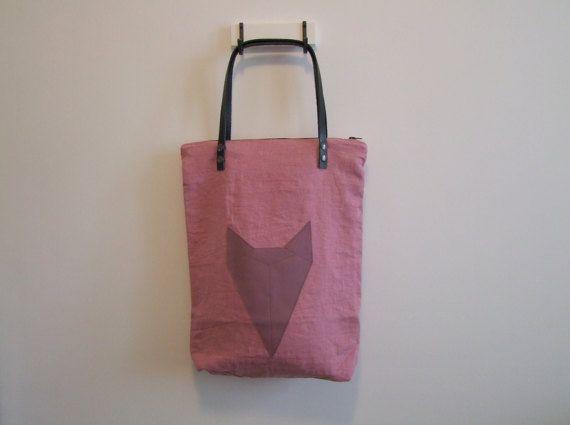 Pink tote bag / linen shoulder bag with leather handles 40x50