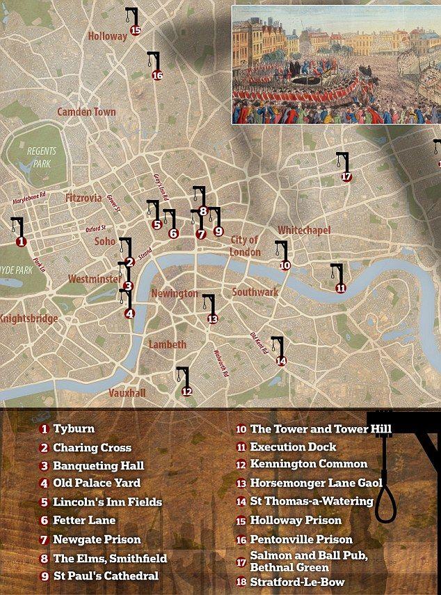 Map reveals Londonu0027s chilling public execution sites