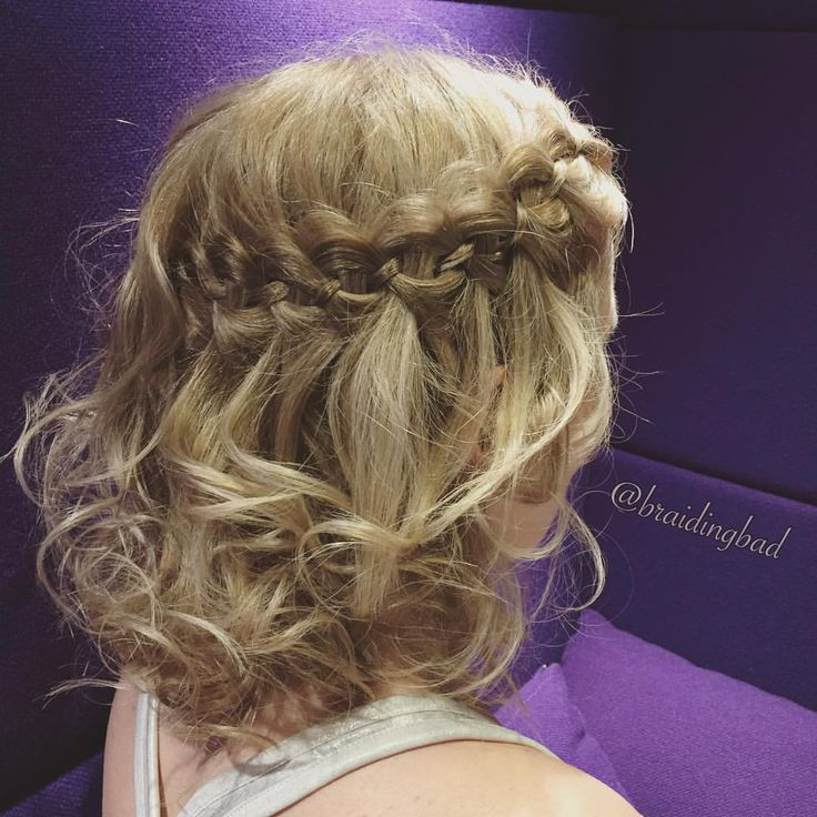 "108 tykkäystä, 8 kommenttia - Heli (@braidingbad) Instagramissa: ""#fourstrandwaterfallbraid with curls creates such a lovely #festivehairstyle 💜 . . #braidinghair…"""
