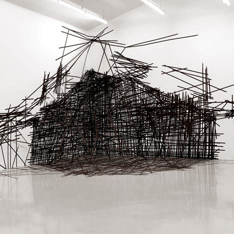 Black and white sticky tape at an exhibition by Polish artist Monika Grzymala. @designerwallace