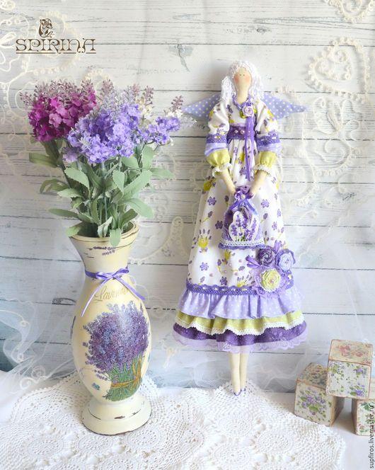 Куклы Тильды ручной работы. Ярмарка Мастеров - ручная работа. Купить Лавандовый Ангел с вазой. Handmade. Сиреневый, деревянная ваза
