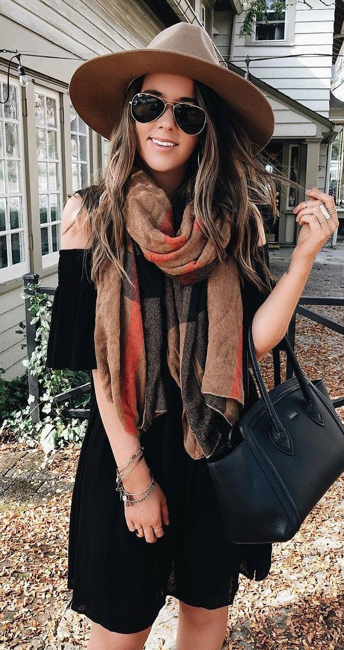 what to wear with a scarf hat   dress   bag
