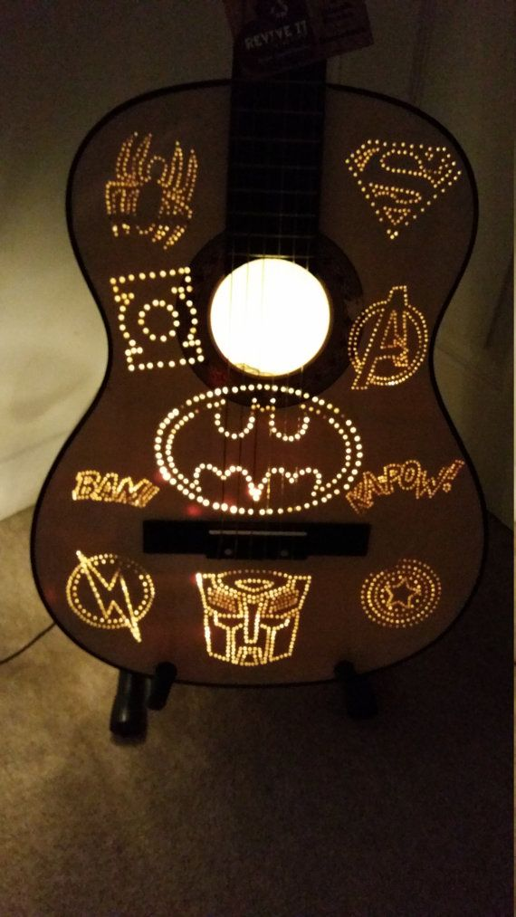 CUSTOM ORDER: Guitar Lamp  L.E.D Eco by ReviveItOnTheCoast on Etsy