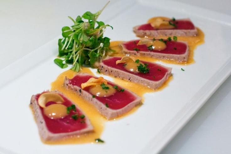 tiradito de atun. tuna, soy ceviche dressing, sweet potato paste