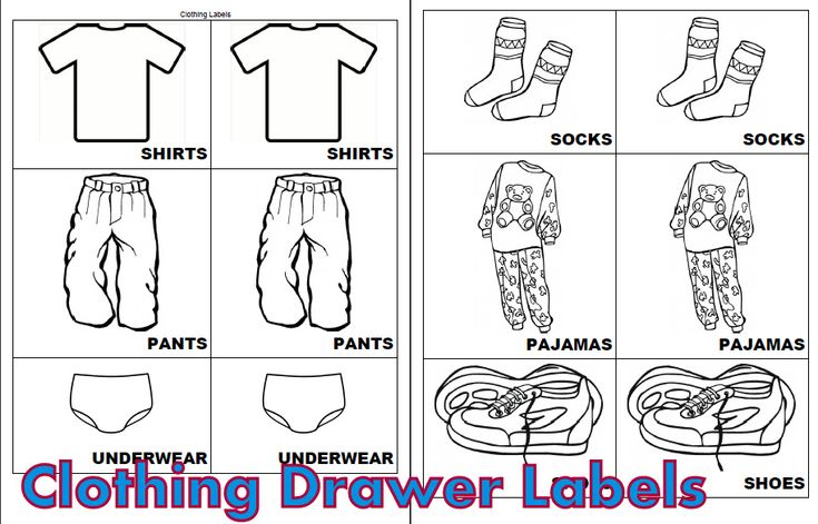 Free Printable Kids Clothing Drawer Labels