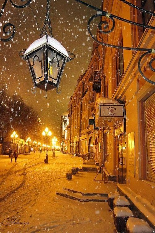 Snowy Night, Moscow, Russia.