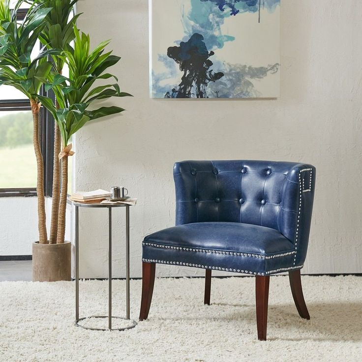 Madison Park Marlee Navy Accent Chair (26.5W x 25.75D x 28.25H-Navy), Blue (Wood)