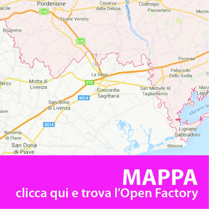 Ecco la mappa delle aziende di tutto il Nordest che partecipano a Open Factory il prossimo 29 novembre, dalle 15 alle 19.  Open Factory 2015 Cliccate sull'icona per scoprire la scheda di ogni azienda, visualizzare le Open Factory più vicine a voi e creare il vostro itinerario personalizzato.