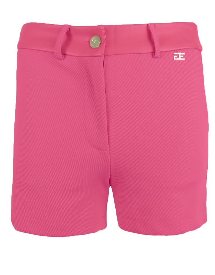 Goldie Estelle dames short fuchsia - Comfortabele short met stretchstof. Rond de heup is het model versierd met leder look stof. Dankzij de riemlusjes kan het item eventueel met een riem gedragen worden.
