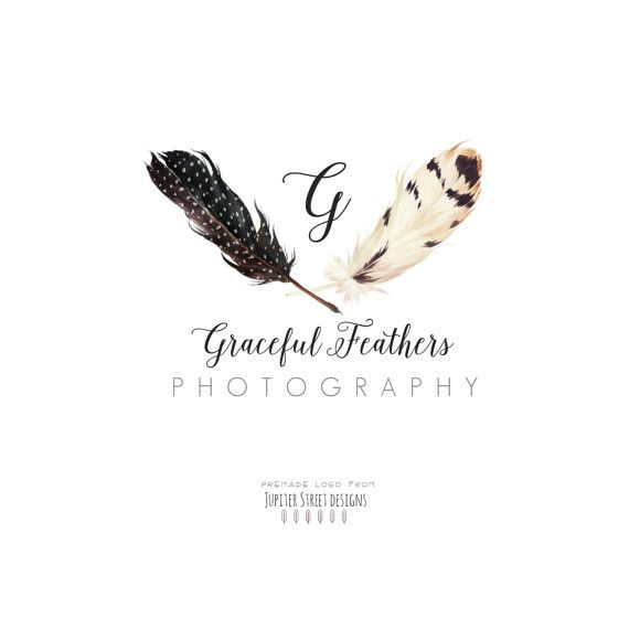 Feather Logo Design - Photography Logo - Boutique Logo - Watercolor Design-Graceful Feather