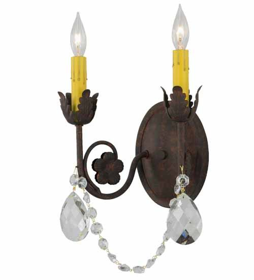 """9.5""""W Antonia 2 Lt W/Crystals Victorian Wall Sconce"""