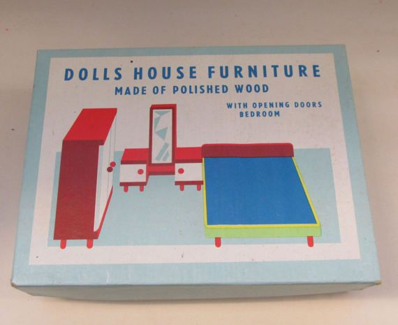 Fabulous Vintage Tofa of Czechoslovakia Wooden Dolls House Furniture - Boxed Bedroom Furniture Set