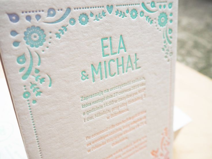 One of our letterpress  rainbowroll wediing invitation design.