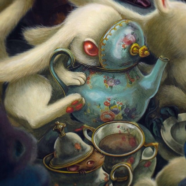 """""""Afternoon Tea"""" (detail) small detail of a very BIG piece that almost killed me. Gouache & oil on paper 2015"""