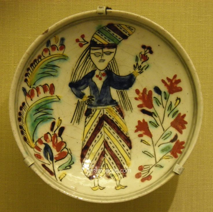 Kutahya Plate Woman Figure 18th – Pera Museum
