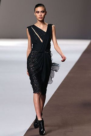 Elie Saab Fall 2010 RTW Black Lace Cocktail Dress