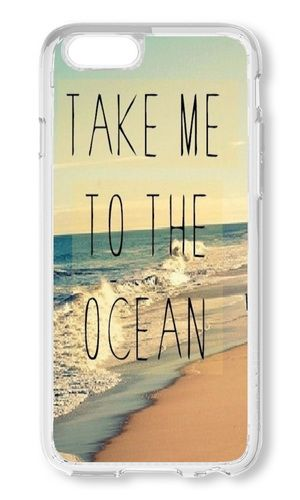 LYNNART Iphone 6 Plus Case Beach Quote Take Me To The Ocean Phone Hard Case For Iphone 6 Plus PC Transparent Phone Case 5.5 Inch
