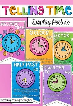 Bright, beautiful posters to brighten your classroom and for students to reference as they learn about telling time!