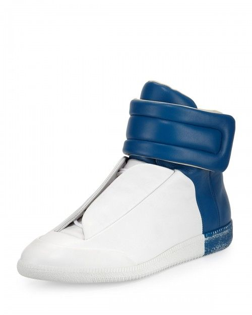 Maison+Margiela+Future+Leather+High+Top+Sneakers+White+Blue+41eu+8us+|+Shoes+and+Footwear
