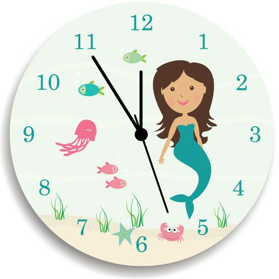 Kids Wall Clock, Children Room Decor Mermaid WALL CLOCK for Girls Bedroom