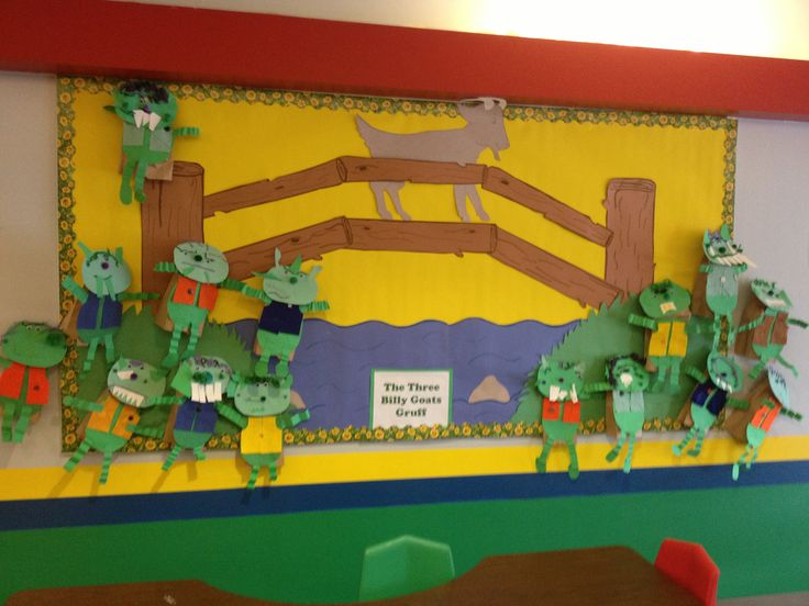 Bulletin Board for Three Billy Goats Gruff. The students made paper bag puppets of trolls.