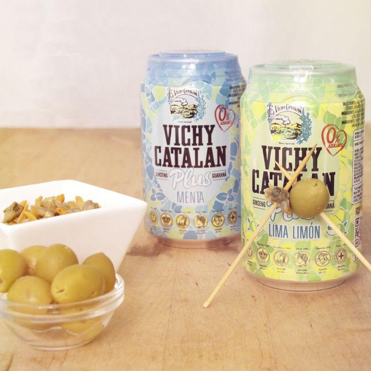 Un #momentovichy de aperitivo con un plus de Vichy Catalan Lima Limón y Menta, sabores con 0% azúcares.