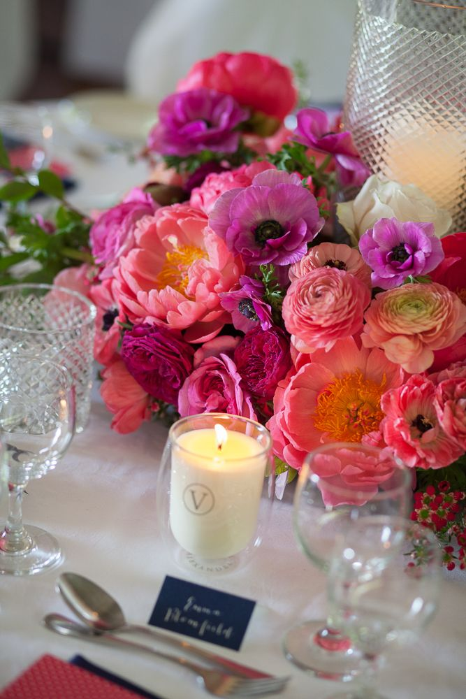 Get the look: the Interiors Addict guide to wedding styling Wedding, Jen Bishop, reception, Athol Hall, flowers, peonies, hot pink, coral, peonies, roses, candles, Voyager candles, navy and hot pink, polkadots, bride