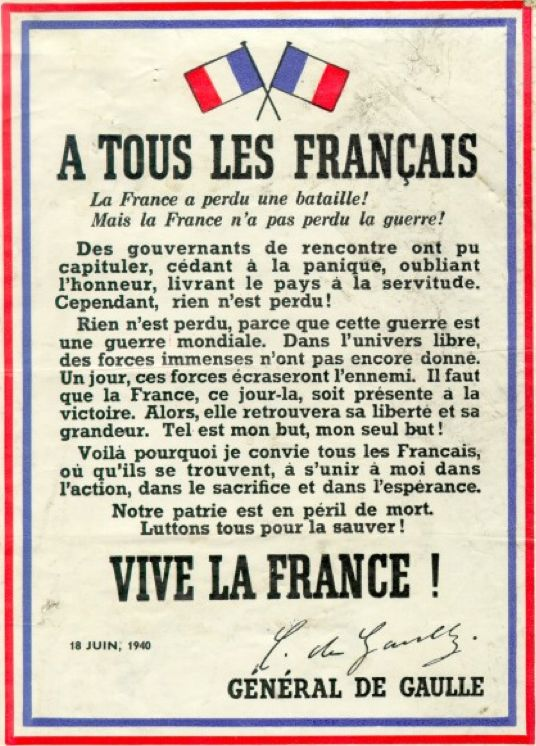 "French Resistance, Appeal of June 18, 1940,  ""France has lost a battle! But France has not lost the war!…"" Général de Gaulle #WW2"