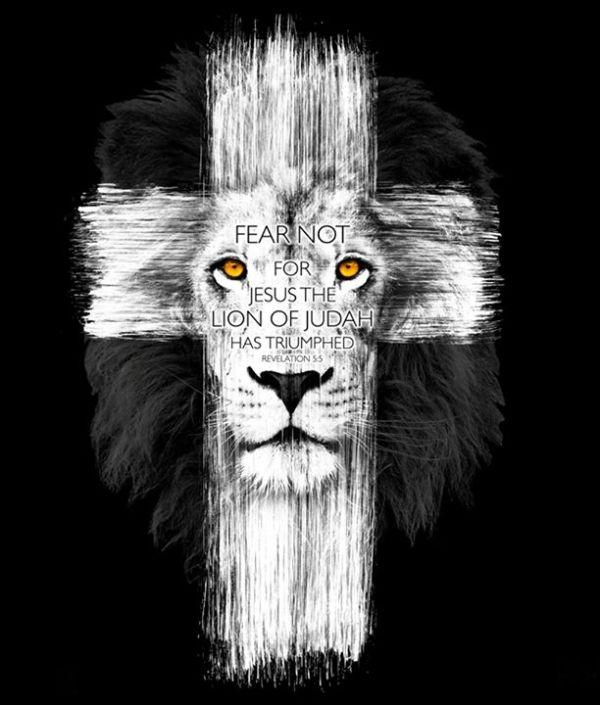 lion and cross tattoo