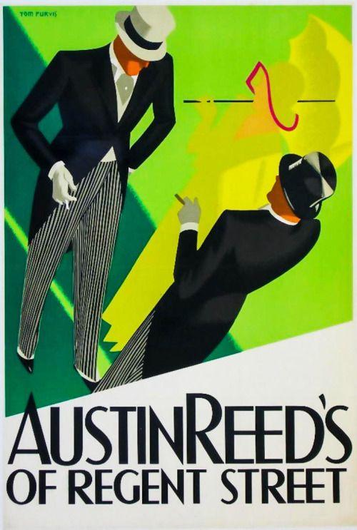 "retrointernational: "" AUSTIN REED'S OF REGENT STREET: VINTAGE POSTER ADVERTISING ARTWORK BY TOM PURVIS (1930′s) """