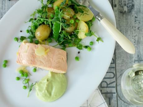 Poached salmon with ginger, avocado mayo and pea salad