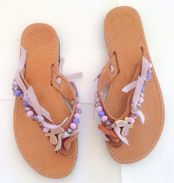 "Handmade Leather Sandals, Greek, Jewelry, Women, Style, Fashion, ""Butterfly"" on Etsy, 30,00€"