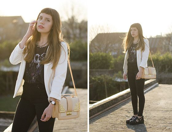 Mart Of China White Blazer, Asos Pink And Golden Satchel, Daniel Wellington Watch, 47 Street Gladiator Patent Sandals, Complot Rock Grunge Skull Printed Top, Complot Rock High Waisted Black Jeans