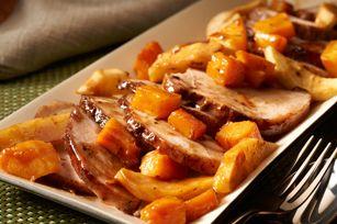 Rôti de porc épicé aux pommes cuisiné à l'avance