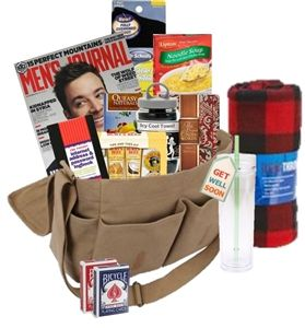 The Chemo Messenger Bag Care Package for Men. Gifts for Cancer Patients. www.JustDontSendFlowers.com