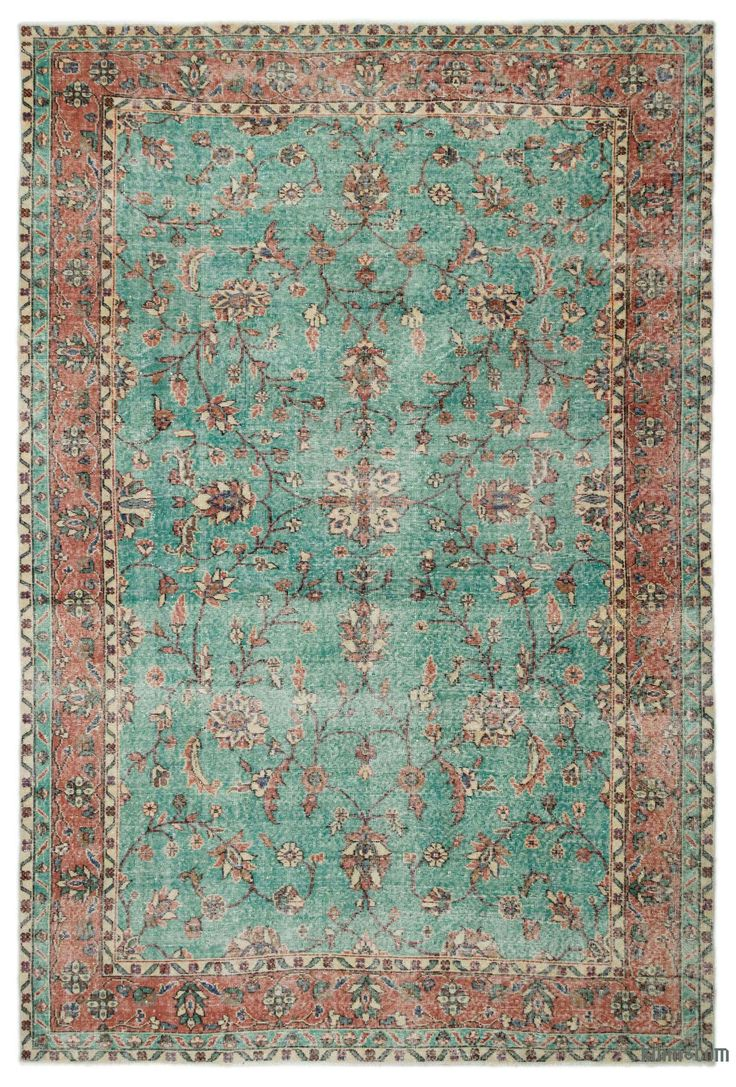 """For a contemporary look with a vintage appeal, we source rugs in excellent condition and carefully trim the piles to achieve an eye-catching """"distressed"""" look. Woven with wool on cotton, this fine rug measures 6'8'' x 10' (202 cm x 305 cm). In addition to being unique and hand-made, these rugs make a very special statement about bridging generations of artisanal skill and knowledge over time with a charming look that complements any modern or bohemian décor. Check out our article Get The """"L…"""