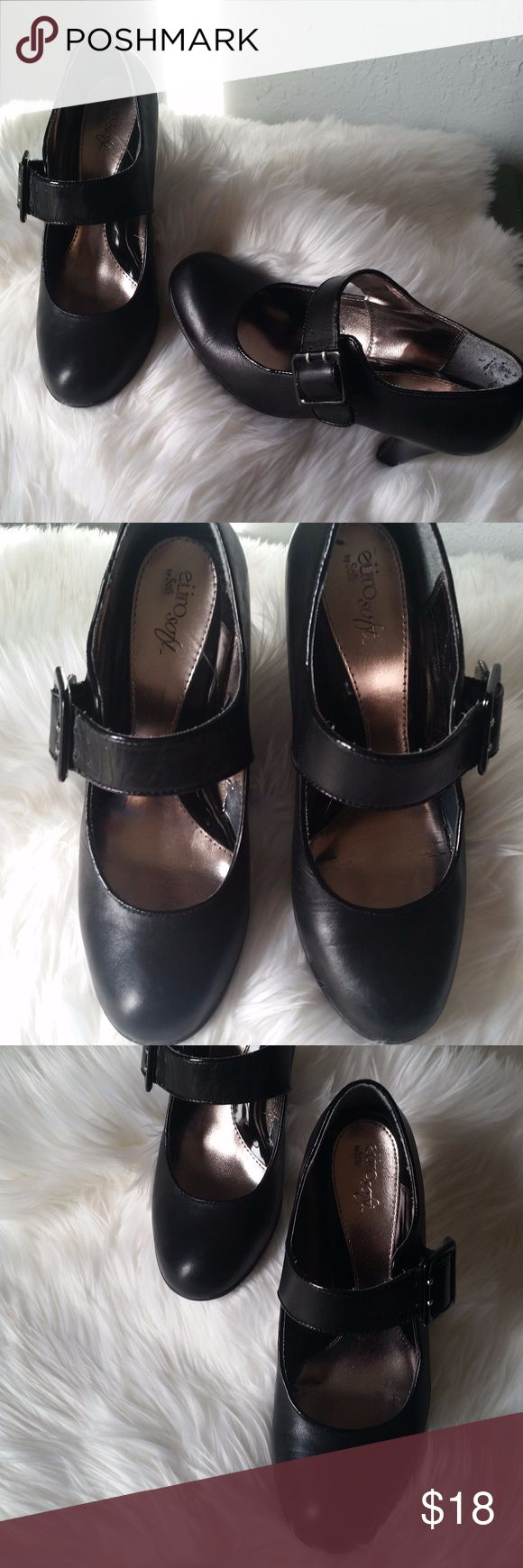 """Sofft Mary Jane's black leather heels Euro Soft by Sofft comfy comfy shoes. Black leather Mary Jane's size 9M 'Genna' style. Approx 3.25"""" heel. Worn a little on inside of shoe, but outside is great!! Sofft Shoes Heels"""