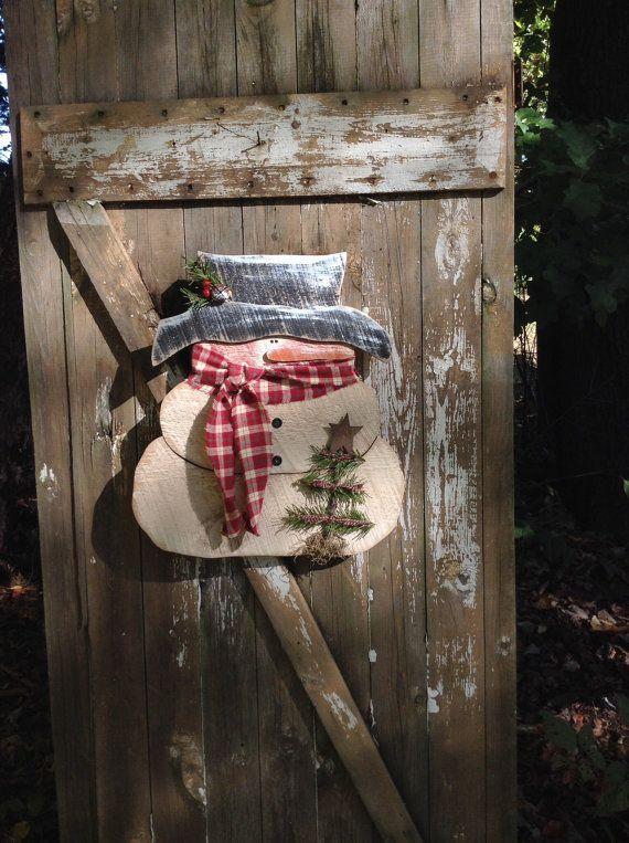 Primitivní Sněhulák, Country primitivní, dřevo sněhulák, sněhuláci Primitive, sněhuláci, sněhulák, dveřní závěs, zimní výzdoba, primitivní dřevěné sněhulák