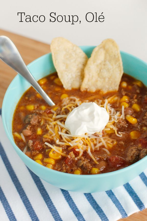 I make this easy taco soup at least once a month. It is easy on the paycheck and quick in the kitchen. It's such a great one for a big family!