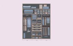 1 /7 Come organizzare l'armadio per lui. Considera per i ripiani superiori un'altezza di 40 cm mentre per i vani inferiori tre sezioni da 120 cm cad.