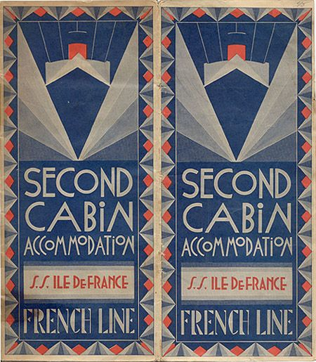 """Steamship brochure and deck plan """"Second Cabin Accommodation, S.S. Ile de France, French Line,"""" 1934.  From the collection of David Levine."""
