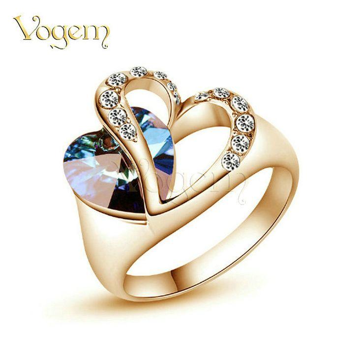 Vogem designer blu cuore anelli in oro rosa placcato blue stone cz diamante anelli di fidanzamento donne regali per la festa della mamma anelli