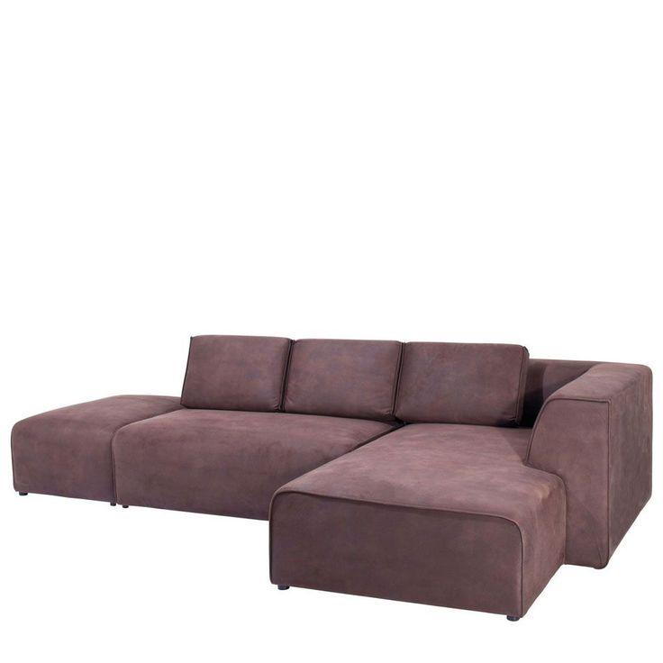 Couch mit ottomane rechts delife ecksofa clovis grau for Kare ecksofa