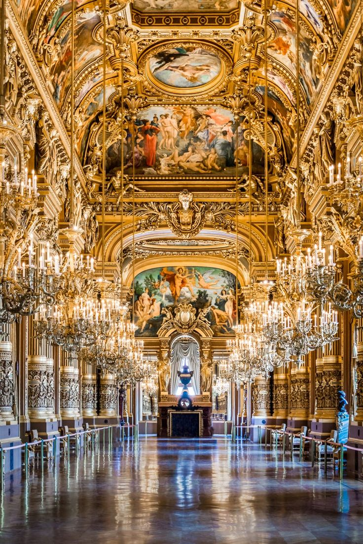 The gorgeous grand foyer of the Paris Opera House
