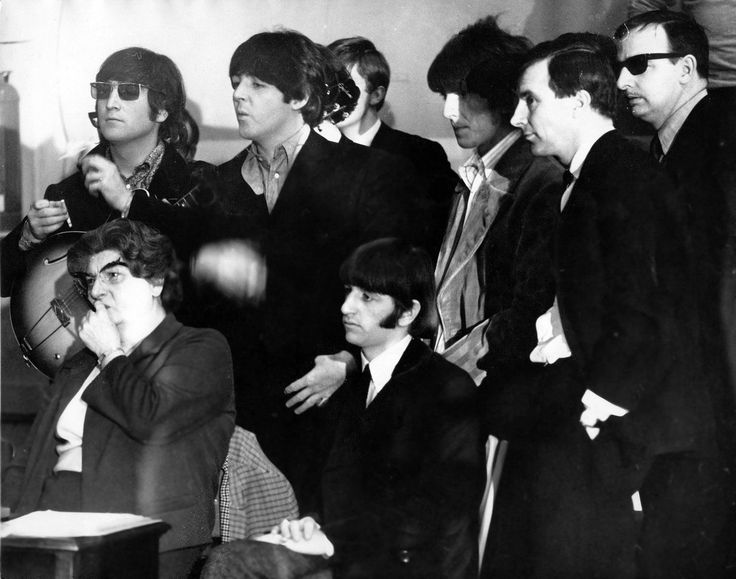 "Cool shot of The Beatles screening the promo clips for ""Paperback Writer"" and ""Rain"" at #1 studio at Abbey Road, May 19, 1966. The woman on the lower left is Vyvienne Moynihan, who coordinated The Beatles' promo shoots for NEMS. Also in the pic, to George's left, is Sean O'Mahoney, the publisher of ""The Beatles Book Monthly."