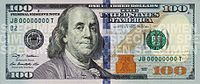 """The United States One Hundred-Dollar Bill ($100): U.S. statesman, inventor and diplomat Benjamin Franklin is currently featured on the obverse of the bill. The bills are also commonly referred to as """"Benjamins"""", in reference to the use of Benjamin Franklin's portrait on the denomination, or """"C-Notes"""", based on the Roman numeral for 100. The bill is one of two denominations that does not feature a President of the United States; the other is the $10 bill, featuring Alexander Hamilton."""