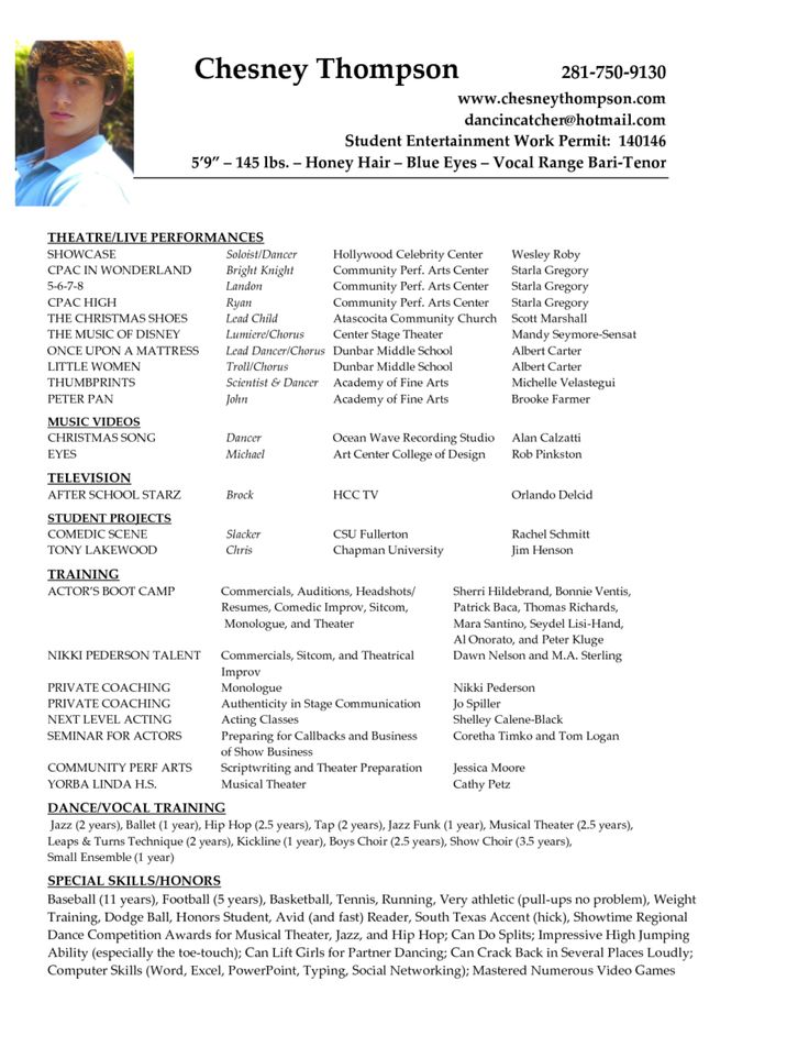 Audition Resume For Kids - Vision professional