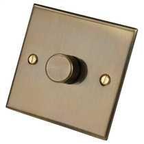 1 Gang 2 Way 400W Dimmer Switch Antique Brass